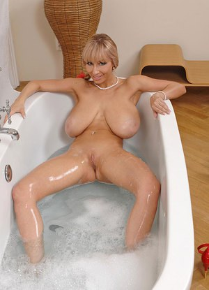 Nude perfect tits bath